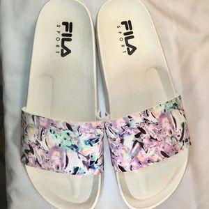 FILA Sport Womens White Slides Sandals Size 78